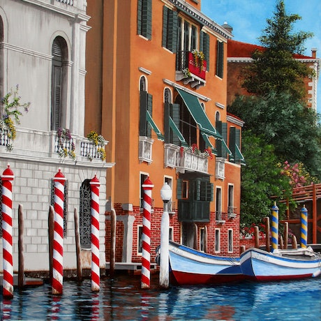 (CreativeWork) The Red Posts, Venice, Limited edition giclee print Ed. 1 of 100 by Debra Dickson. Print. Shop online at Bluethumb.