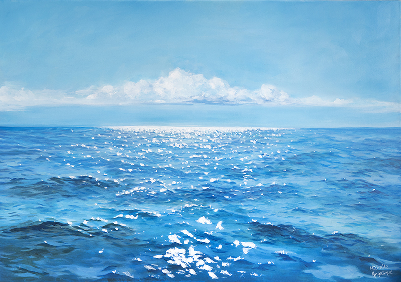 (CreativeWork) The sparkling sea of Port Stephens by Michelle Angelique. arcylic-painting. Shop online at Bluethumb.