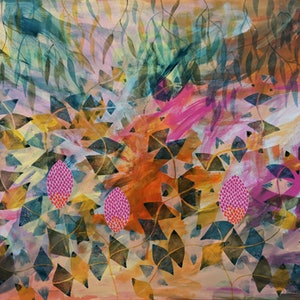 (CreativeWork) Banksia Babble by Marinka Parnham. arcylic-painting. Shop online at Bluethumb.