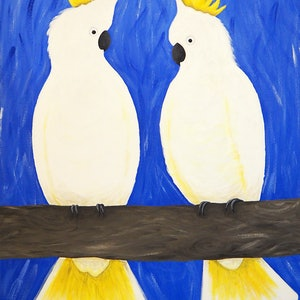 (CreativeWork) Sulfur Crested Cockatoos by Rebecca Westlund. arcylic-painting. Shop online at Bluethumb.