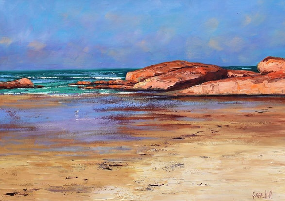 (CreativeWork) Low tide colours at South west Rocks  by Graham Gercken. Oil Paint. Shop online at Bluethumb.