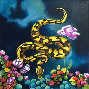 (CreativeWork) Snake in the Flowers 2 by Antoinette Stokell. oil-painting. Shop online at Bluethumb.