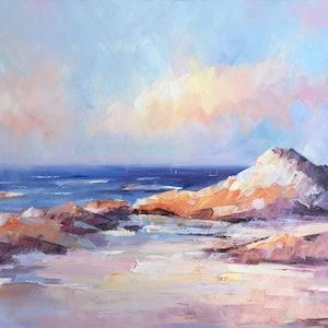 (CreativeWork) Bay of fires by Liliana Gigovic. oil-painting. Shop online at Bluethumb.