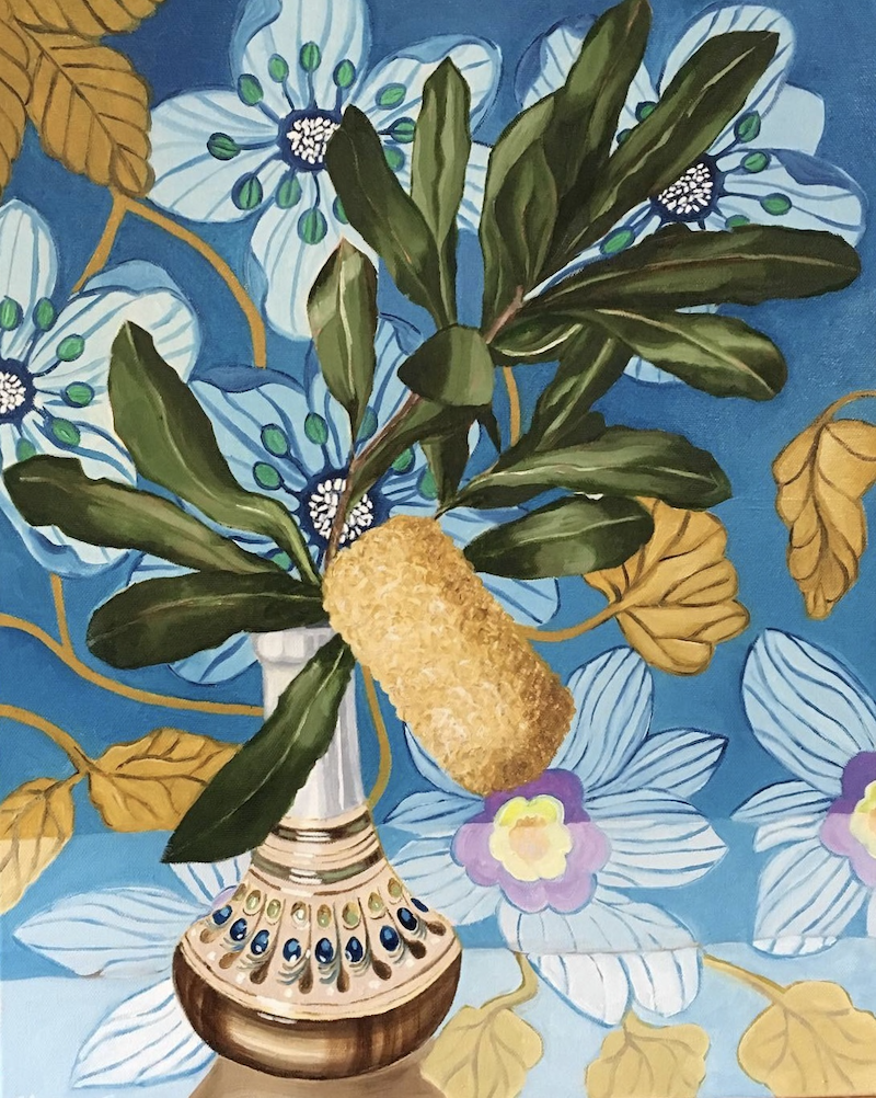 (CreativeWork) Banksia & Barkcloth by Alicia Cornwell. oil-painting. Shop online at Bluethumb.