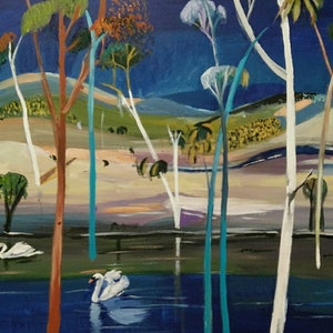 (CreativeWork) Two Swans by Susan Trudinger. arcylic-painting. Shop online at Bluethumb.