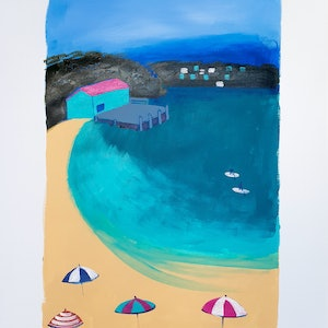 (CreativeWork) Mitchies Jetty,  Merimbula by Jennifer Baird. arcylic-painting. Shop online at Bluethumb.