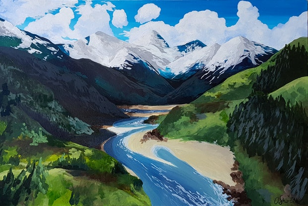 (CreativeWork) Wild Mountain River by Alison Sherlock. Acrylic Paint. Shop online at Bluethumb.