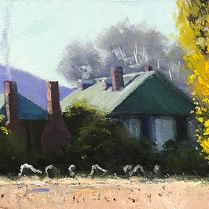 (CreativeWork) The Old Coach House by John Rice. oil-painting. Shop online at Bluethumb.