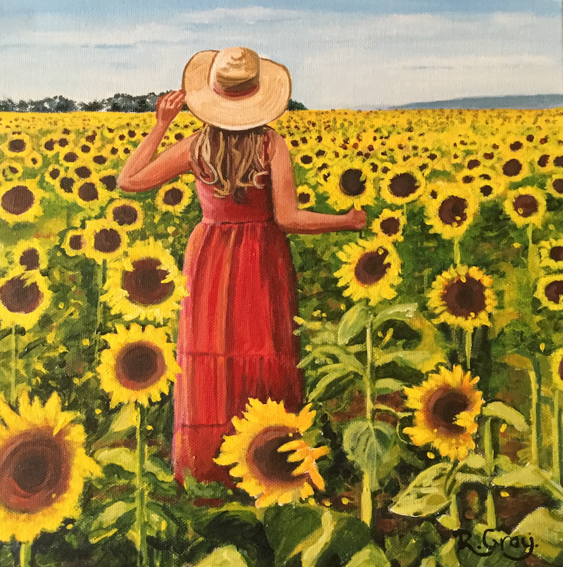 (CreativeWork) Sunflower Salutation by Robyn Gray. arcylic-painting. Shop online at Bluethumb.