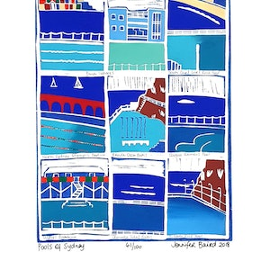 (CreativeWork) Pools of Sydney. Ed. 61 of 100 by Jennifer Baird. print. Shop online at Bluethumb.