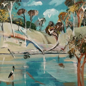 (CreativeWork)  Australian Landscape The Stork by Susan Trudinger. arcylic-painting. Shop online at Bluethumb.