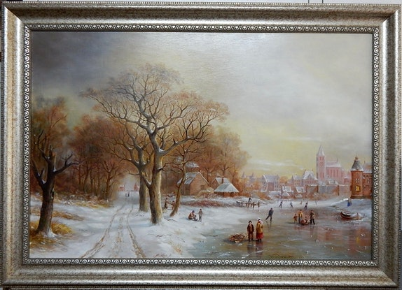 """(CreativeWork) """"Winter scene near a village""""  - Framed ready to Hang by Jos Kivits. Oil. Shop online at Bluethumb."""