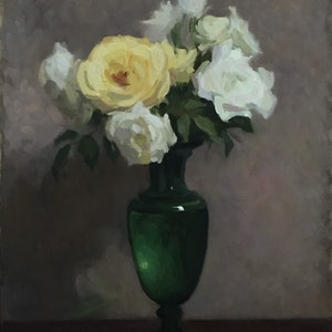 (CreativeWork) Flowers in Green Vase by Robert Kelly. oil-painting. Shop online at Bluethumb.