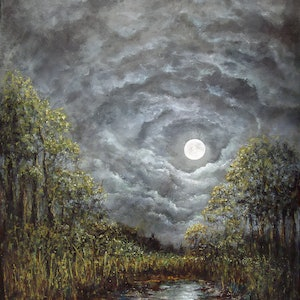 (CreativeWork) Moonlit Stream by David Kaneen. oil-painting. Shop online at Bluethumb.