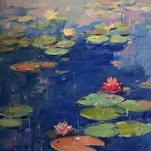 (CreativeWork) Water Lily  VII  by Li Zhou. oil-painting. Shop online at Bluethumb.