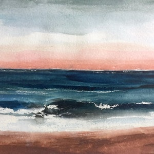 (CreativeWork) St. Kilda Sunset by Tiffany Blaise. watercolour. Shop online at Bluethumb.