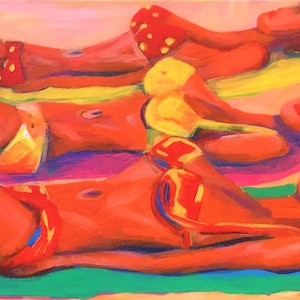 (CreativeWork) Sunlovers by angela mulligan. arcylic-painting. Shop online at Bluethumb.
