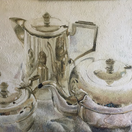 (CreativeWork) Tea set on white cloth by Paul Brandner. Oil Paint. Shop online at Bluethumb.