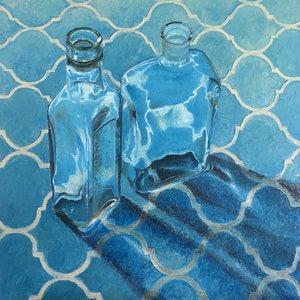 (CreativeWork) Bottles on blue cloth by Paul Brandner. oil-painting. Shop online at Bluethumb.