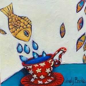 (CreativeWork) Fish in a Tea Cup by Wendy Bache. arcylic-painting. Shop online at Bluethumb.