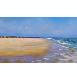 (CreativeWork) Sea sky and sand by Graham Gercken. oil-painting. Shop online at Bluethumb.