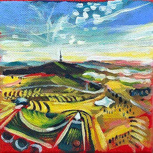 (CreativeWork) View over National Arboretum Canberra  by Valentyna Crane. arcylic-painting. Shop online at Bluethumb.
