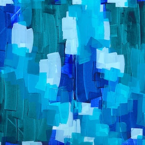 (CreativeWork) The Big Blue by Maggi McDonald. arcylic-painting. Shop online at Bluethumb.