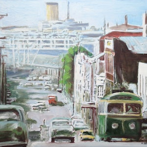 (CreativeWork) Lower Argyle Street, Hobart c.1960 by Michael Bessell. oil-painting. Shop online at Bluethumb.