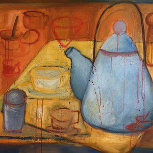 (CreativeWork) Tea party by Marijke Lambregtse. mixed-media. Shop online at Bluethumb.