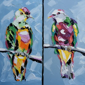 (CreativeWork) Rose-Crowned Fruit Dove and Wompoo Fruit Dove (2 paintings) by Lisa Fahey. arcylic-painting. Shop online at Bluethumb.