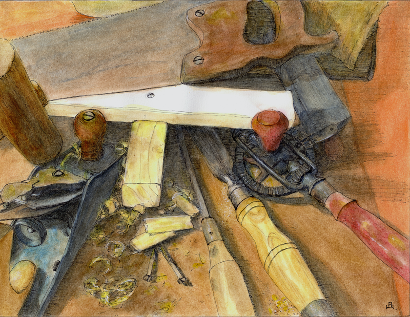 (CreativeWork) The Carpenter by Anne Huth. Watercolour Paint. Shop online at Bluethumb.