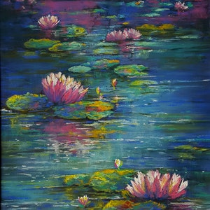 (CreativeWork) Pink on the Pond by Helen Miles. other-media. Shop online at Bluethumb.
