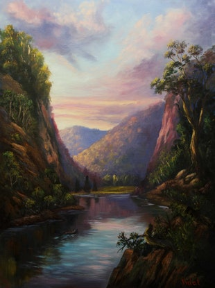 (CreativeWork) On Nepean River - Oil on  linen ready to hang by Christopher Vidal. #<Filter:0x00007f0bd8bdf480>. Shop online at Bluethumb.