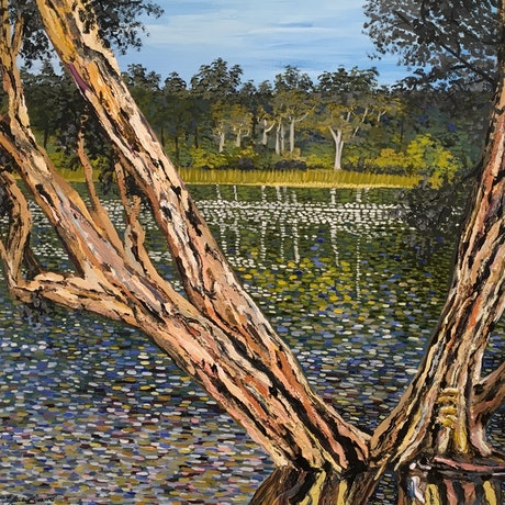 (CreativeWork) Lake Leschenaultia  by Ericka Baker. Acrylic Paint. Shop online at Bluethumb.