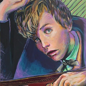 (CreativeWork) Newt Scamander  by Rebecca Read. arcylic-painting. Shop online at Bluethumb.