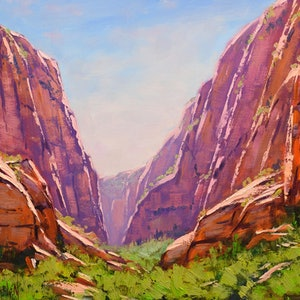 (CreativeWork) Zion Canyon desert landscape original oil painting, utah canyon painting by Graham Gercken. oil-painting. Shop online at Bluethumb.