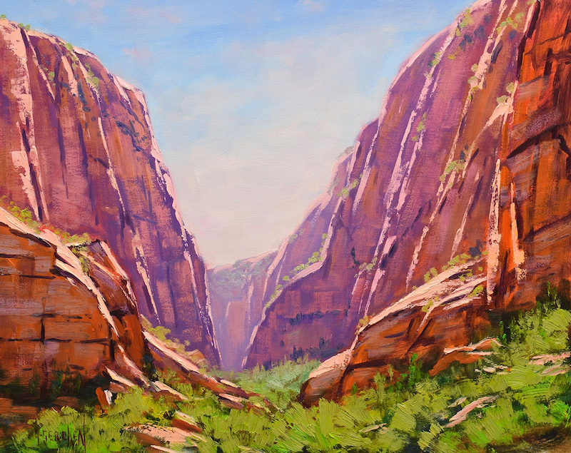(CreativeWork) Zion Canyon desert landscape original oil painting, utah canyon painting by Graham Gercken. #<Filter:0x00007fa5176e60e0>. Shop online at Bluethumb.