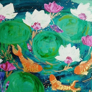 (CreativeWork) Pond by Sandra Oost. mixed-media. Shop online at Bluethumb.