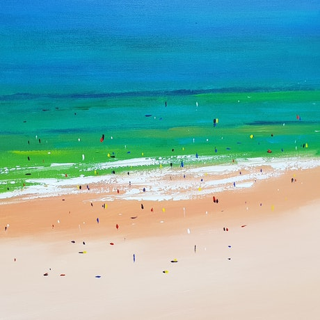 (CreativeWork) Noosa Beach Summer 1 by Rod Moore. Acrylic Paint. Shop online at Bluethumb.