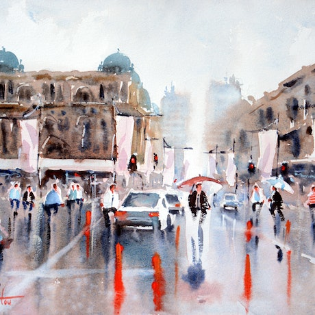 (CreativeWork) Rainy Day George Street, Sydney by Chrysovalantou Mavroudis. Watercolour Paint. Shop online at Bluethumb.