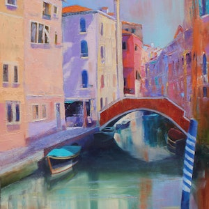 (CreativeWork) VENICE BECKONS by Sandra Michele Knight. oil-painting. Shop online at Bluethumb.