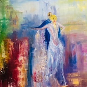 (CreativeWork) The Dancing Lady (series 2) by Lesley K Williams. oil-painting. Shop online at Bluethumb.