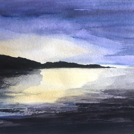 (CreativeWork) Sapphire Sunset by Tiffany Blaise. Watercolour Paint. Shop online at Bluethumb.