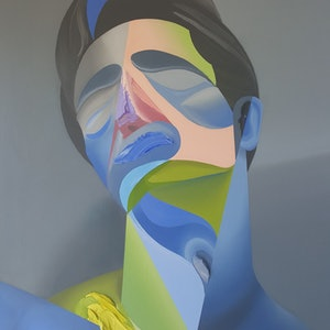 (CreativeWork) Green and Blue Man on Grey by Jonny Southgate. oil-painting. Shop online at Bluethumb.