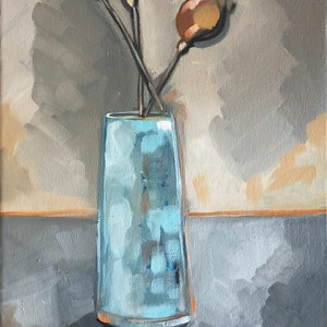 (CreativeWork) Blue Vase by Sam Suttie. oil-painting. Shop online at Bluethumb.