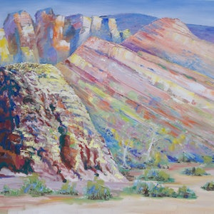 (CreativeWork) Flinders Ranges Interpretation by Roland Weight. oil-painting. Shop online at Bluethumb.