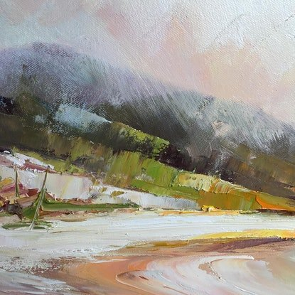 (CreativeWork) Squeaky beach by Liliana Gigovic. Oil Paint. Shop online at Bluethumb.