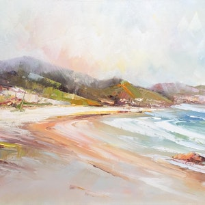 (CreativeWork) Squeaky beach by Liliana Gigovic. oil-painting. Shop online at Bluethumb.