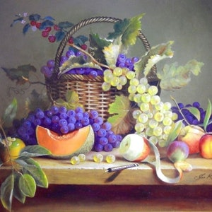 "(CreativeWork) ""Cut melon, white grapes, persimmon, fig & peeled apple"" Framed ready to hang by Jos Kivits. oil-painting. Shop online at Bluethumb."