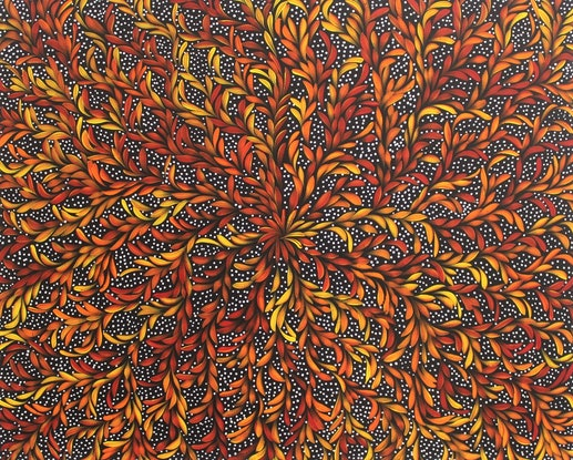 (CreativeWork) Bush Medicine Leaves Dreaming by Louise Numina. Acrylic Paint. Shop online at Bluethumb.